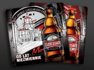 Materiały promocyjne dla piwa Lubelskie