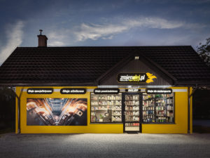 Projekt fasady – sklep z olejami do sportów motorowych
