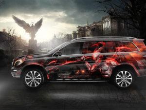 Projekt oklejenia Mercedes GL – walka dobra ze złem